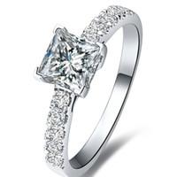 nscd simüle edilmiş elmaslar toptan satış-FG Prenses Kesim 1.5 NSCD Simüle Prenses Kesim Pırlanta Promise ring Teklif Yüzük Kadınlar Için