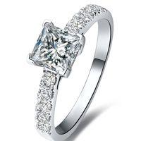 nscd смоделированные алмазы оптовых-FG Princess Cut 1.5 NSCD Имитация Принцессы Cut Diamond Promise кольцо Предложение Кольцо Для Женщин