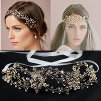 Wholesale Pearl Frontlet - 2015 Girl Bridal Women Party Headpieces Vintage Frontlet Wedding Jewelry Hair Band headbands Handmade Imitation Pearl Rhinestone Crystal