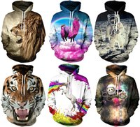 Wholesale Hoodies Christmas - 2017 Christmas Santa Autumn Winter 3D Animal Print Men Hoodies Coat With Hat Pocket Digital Print Hooded Pullovers S~2XL