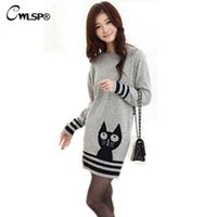 Wholesale Free Sweater Knit Patterns - CWLSP Gray Cute Cat Pattern Long Style Women Knitwear 2017 New Spring Autumn Casual Women Sweater Knitted Pullover Free Size
