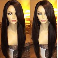 12 cabelos lisos malaysianos venda por atacado-Não transformados de seda malaia reta U parte perucas de cabelo virgem parte esquerda Upart peruca de cabelo humano perucas para mulheres negras em estoque