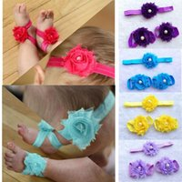 Wholesale Soft Barefoot Baby Sandals - Kids Hairbands Baby Girls Barefoot Sandals First Walkers Headbands Latest Soft Flexible Children Girls Lace Flower Sweet Hair Decorations