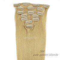 "Wholesale Golden Blonde Hair Extensions - Brazilian Straight Clip in Hair 5sets 15""-26"" 7pcs 24# pale golden Blonde Brazilian Malaysian Peruvian Indian Remy Human Hair Extensions"