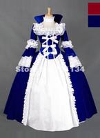vintage victorian kostüme frauen großhandel-Neueste Frauen Erwachsene Mittelalterliche Kostüme 2015 Blaue Spitze Gothic Victorian Renaissance Mittelalterliche Kleider Vintage Bürgerkrieg Korsett Kleid