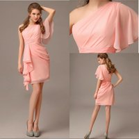 Wholesale Short Sleeves Chiffon Sheath - Unique Design Sheath Mini Short Chiffon One Short sleeve Bridesmaid Dress With Pleated Classic New Arrival Homecoming Party Gowns