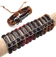 Wholesale Guitar Man - Genuine Leather Bracelet Bangle Cuff Guitar Charm Women Men Punk Fashion Jewelry