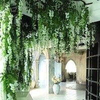 ingrosso piante da giardino casa-120pcs fiore di cerimonia nuziale Casa / Giardino / Albergo Decorazione di cerimonia nuziale Fiore Glicine Vite Pianta Artificiale Fiori di Seta Decorativo Artificiale Rattan
