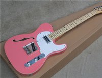 Wholesale Electric Guitar Semi Hollow White - Electric Guitar with Pink Body and White Pickguard,Chrome Hardwares and Can be Customized as Request