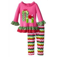 Wholesale childrens clothes online - 2017 girls christmas outfits fall boutique kids clothing sets baby gift ruffle tops rainbow chevron pants childrens clothes