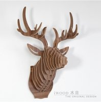 Wholesale Wood Carved Diy Gifts - Top fashion European carved wooden DIY deer head,Nordic wall art,home decoration,novelty gift animal head wood crafts wall decor