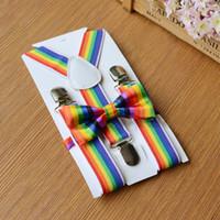 ingrosso i ragazzi legano clip-Bretelle per ragazzi per arcobaleno Set di papillon a righe arcobaleno 3 fermaglio con fibbia Reggiseno da sposa Bretelle Cinturino Bretelle