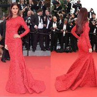 Wholesale Sweep Neck Prom Dresses - Long Sleeves Evening Dresses High Neck Mermaid Vintage Dark Red Cheap Sweep Train Sash Plus Size 2016 Celebrity Pageant Dresses Prom Gowns
