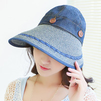 Wholesale big straw hats for women - Wholesale-summer outdoors unseix lager wide brim cotton straw floppy sun hat for women men with big heads sunbonnet at-uv free shipping