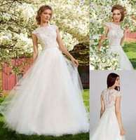 Wholesale Tara Keely Bridal Gowns - Tara Keely 2015 Romantic A-Line Wedding Dresses Jewel Neckline Capped Sleeves Beaded Lace Appliques Sheer Back Tulle Bridal Gowns TK2552