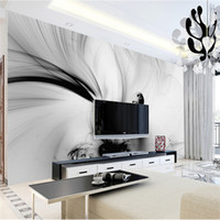 Wholesale black white chinese painting for sale - Group buy 3D Abstract Wall Murals Black White Lines Stripe HD Photo Paper Rolls Living RoomHome Wall Decor Art Painting