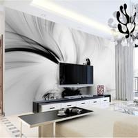 parede branca foto preto venda por atacado-3D Abstrato Murais De Parede Preto Linhas Brancas Listra Papel De Foto HD Rolos Living RoomHome Wall Art Decoração Pintura