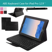 Wholesale Tablet Pc Abs - Tablet PC Wireless Bluetooth Keyboard Case Blueooth Keyboards Cover Cases ABS Leather Detachable Stand Holder For Apple iPad Pro 12.9 inch