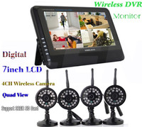 Wholesale Security Camera Sd Card Wireless - 7 inch LCD Monitor with 4 Cameras Digital Wireless DVR Camera Quad CCTV Home Security System Support 32GB SD Card max. supported