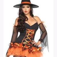 disfraces de brujas de halloween para adultos al por mayor-El estilo europeo y americano de la dama adulta Disfraz de bruja mágica de Halloween Cosplay traje de fiesta de princesa de calabaza