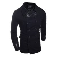 Wholesale Mens Cheap Brand Clothes - Fall-2015 Fashion European Style Trench Coat For Men Winter Cotton Jackets Cheap Mens Peacoat Clothing Brand Black Trench Coats S391