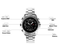 Barato Sc Camera Watches-SC câmera de relógio de aço inoxidável Waterproof Spy Watch Camera Digital Audio Video Recorder wristWatch Câmera escondida com caixa de varejo