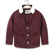 Wholesale Kids Western Coats - Boys Leisure Outerwear 2015 New Fashion Spring Autumn Mandarin Collar Woolen Simple Kids Western-style Clothes Fit3-7 Age Children YY18