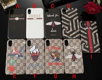 Wholesale flower case for iphone - for iPhone X Case Luxury brand printing tiger bird flower bee snake phone shell for iphone 7 7plus 8 8plus 6 6S 6plus hard back cover