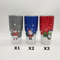 Wholesale New Vacuum - 10pcs 2017 New Christmas Tumbler Mugs 304 Stainless Steel Tumbler Vacuum Insulation Cup Beer Bar Dining Travel Mug 9 Styles In Stock