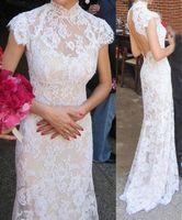 Wholesale Cheongsam Back - 2016 High Collar Cheongsam Style Lace Wedding Dresses with Short Sleeves Open Back Wedding Formal Dress Custom Made Advanced Bridal Gowns