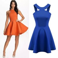 cfc526408c spring skater dress NZ - spring summer new Womenswear wholesale sexy cross  back cut out pleated