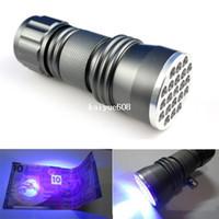 akrep pil toptan satış-Alüminyum Kabuk Ultraviyole ışık Için 3 xAAA Anti-sahte UV 21 LED El Feneri Para Dedektörü Ücretsiz Kargo