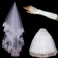 Wholesale Muslim Bridal Gloves - 2015 Free shipping Three-piece bridal accessories Wedding dress veil Gloves veil petticoat