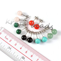 Vente en gros 10Pair Argent Plaqué Rose Quartz Vert Aventurine Red Jade Stone Perles Rondes Dangle Hook Stud Earring Women Jewelry
