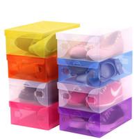 Wholesale transparent fashion shoes for sale - Fashion Foldable Plastic Shoebox For Transparent Men And Women Shoe Box Household Convenient Storage Organizer Multi Color fd CB
