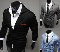 Wholesale Blue Blazer Sale - 2014 Hot sale Men's casual blazers Fashion turn-down slim knitted suit men