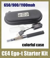 Wholesale Egot Cases - CE4 eGo t egot ego-t Starter Kit E-Cig Electronic Cigarette Zipper Case package Single Kit 650mah 900mah 1100mah DHL YA0029