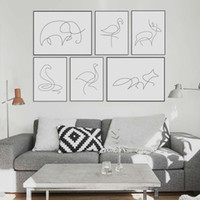 Wholesale Picasso Art Pictures - Modern Picasso Minimalist Animal Shape Canvas A4 Art Prints Poster Abstract Deer Horse Wall Picture Home Decor Painting No Frame