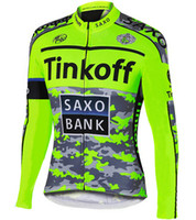Wholesale Cycling Jersey Fleece Saxo - WINTER FLEECE THERMAL ONLY CYCLING JACKETS CLOTHING LONG JERSEY ROPA CICLISMO 2015 TINKOFF SAXO BANK FLUO GREEN SIZE:XS-4XL