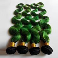 örgü örgü toptan satış-Moda oldukça seksi kadın Brezilyalı bakire Saç Vücut Dalga 1B / yeşil Omber Renk Avrupa Hint remy Saç Örgü Güzellik İnsan Saç uzantıları