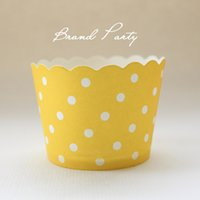 Wholesale Cupcake Wrapper Yellow - Polka Dots Yellow Cupcake Wrappers Orange High Temperature Greaseproof Paper Mini Muffin Cupcake Liners Cupcake Cases