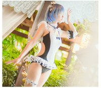 Wholesale Sexy Maid Costumes Pink - costume cosplay New Re:Life in a different world from zero Ram Rem Maid Swimsuit Cosplay Costumes Harajuku Sexy Girls UKUMIZU Clothing Set