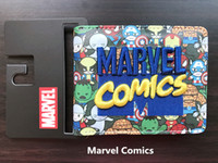 Cool Marvel Comics Wallet Appliques Patch ricamato Slim Leather Cartoon Portafoglio per le donne Uomini Avengers Bat Man Superman Portafoglio