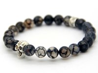 Wholesale Vein Agate Beads - New Beaded Bracelets Wholesale High Quality Natural Grey Dragon Veins Agate Beads With Silver Skull Bracelet For Men's Gift