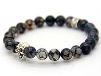 Wholesale Skull Link Bracelet - New Beaded Bracelets Wholesale High Quality Natural Grey Dragon Veins Agate Beads With Silver Skull Bracelet For Men's Gift