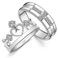 paare krone ringe groihandel-Paar Ringe Crown Cross 925 Sterling Silber mit Zirkon für Liebhaber von Männern und Frauen