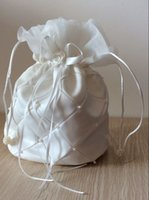 Wholesale Gift Satin Bow - White Floral Beads Ribbon String Satin Bridal Purses Bridesmaids Purses Gifts for Bridesmaids Jewelry Storage Bags Pouches