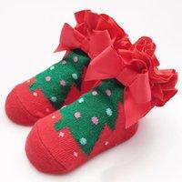 Wholesale Young Girls Stocking - Kids socks Baby 1-2 years young Girls Clothing children Socks Christmas Tree Pattern Kids Stocking Warmer Sock Red Cotton Girl Socks