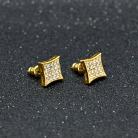 Wholesale Men White Gold Diamond Earring - New Arrival Mens Cubic Zirconia Diamond Earings Fashion Men Jewelry Hip Hop Copper White Gold Filled Crystal Stud Earring Jewelry Box Pack