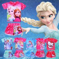 Wholesale Swim Wear 3t Girls - 2015 Girl Swim Wear Princess Cinderella Elsa Anna Ariel Sofia Hello Kitty Print Two Piece Child Swimsuit T Shirt Swim Trunks set